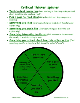 Comprehension discussion spinners