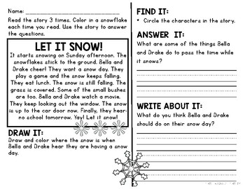 Comprehension Passages and Questions for Little Learners: January