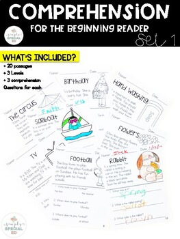 Comprehension for the Beginning Reader: Set 1