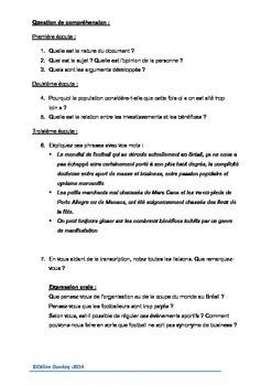 Comprehension orale Football et business - COUPE DU MONDE DU BRESIL 2014