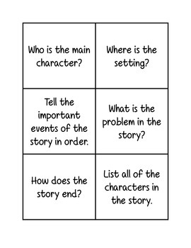 Comprehension question task cards