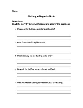 Common Core ELA Module 3: Bullfrog at Magnolia Circle comprehension questions