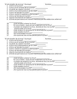 """Comprehension questions for """"El almohadón de plumas"""""""