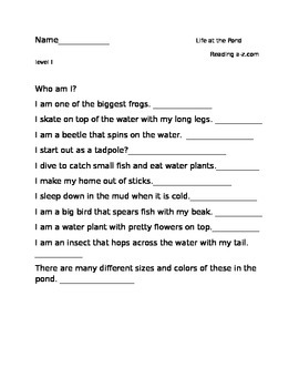 Comprehension questions for Life at the Pond  reading a-z book