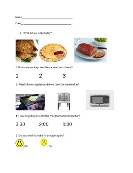 Comprehension questions for making easy mac