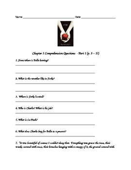 Comprehension questions for teaching the novel Twilight