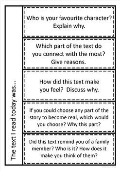 Comprehension reading and writing task response pages