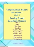 Comprehension sheets for gr.1 reading street decodable readers