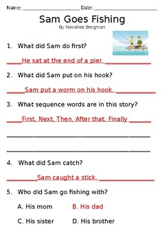 Comprehension story - Fishing