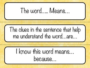 Comprehension strategy question and answer language prompts.