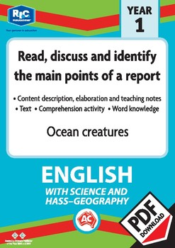 Comprehension text – Ocean creatures – Year 1