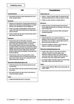 Comprehension text – Woodland habits – Year 2