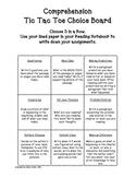 Comprehension tic tac toe menu-Number 1
