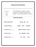 Monkey Short story and comprehension questions: circle answers w/ coloring page