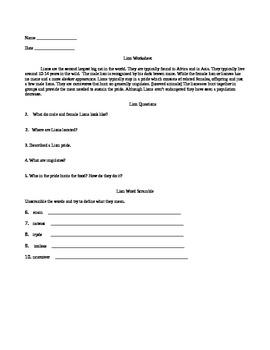 Comprehension/Activity Package