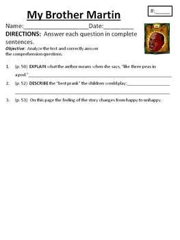 Comprehension/Vocab. for Houghton Mifflin Journeys Unit 1 My Brother Martin