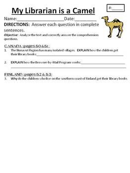 Comprehension/Vocab. for Houghton Mifflin Journeys Unit 1My Librarian is a Camel