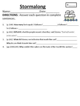 Comprehension/Vocabulary for Houghton Mifflin Journeys Stormalong