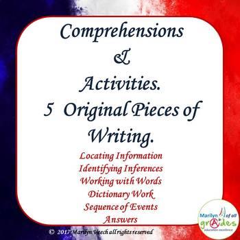 Comprehensions & Activities. 5 Original pieces of Writing.