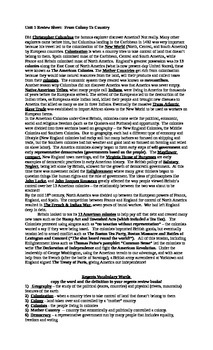 Comprehensive American History Unit and Thematic Review Sheets