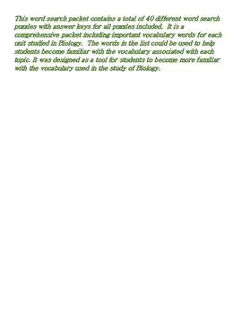 Biology: A Comprehensive Biology Word Search Puzzle Bundle