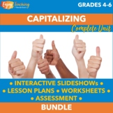 Capitalization Unit: Capitalizing PowerPoints, Worksheets & Tests