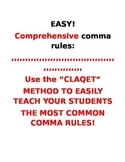Comprehensive Comma Rules Method, Worksheets, and Quizzes
