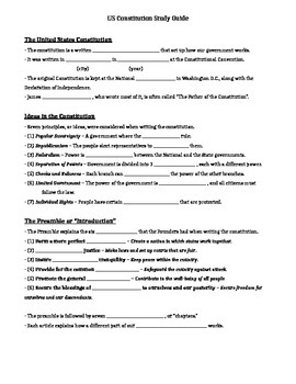 Comprehensive Constitution Test Study Guide, Review Packet