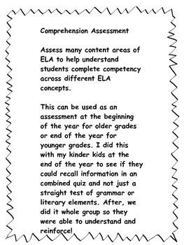 Comprehensive ELA assessment