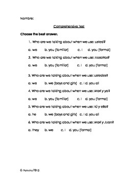 Comprehensive End of the Year Test Spanish I