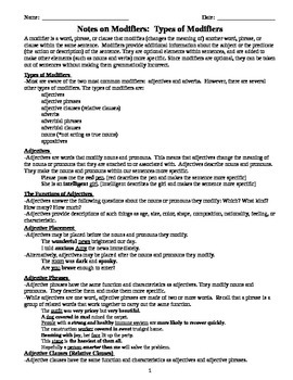 Comprehensive Grammar Notes on Adjectives and Adverbs - MS and HS Students