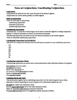 Comprehensive Grammar Notes on Conjunctions for Middle and