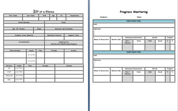 Comprehensive IEP At a Glance and Progress Monitoring Sheets