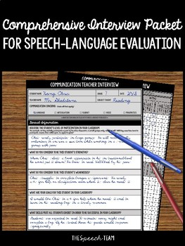 Comprehensive Interview Packet for Secondary Speech-Language Evaluation