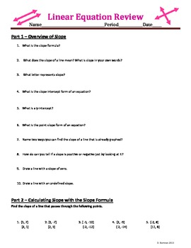 Comprehensive Linear Equation Review - 50 Problems - Ready
