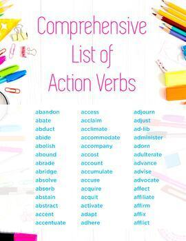 Comprehensive List of Action Verbs!