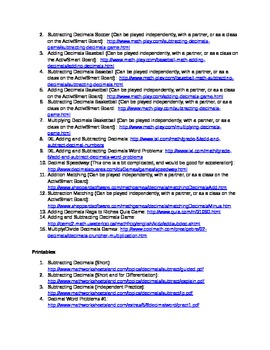 Comprehensive List of Resources for teaching decimals! COMMON CORE ALIGNED!