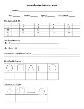 Comprehensive Math Assessment - Cover Sheet - Ideal for Kindergarten