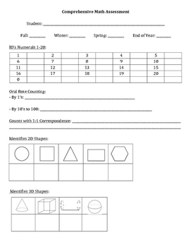 Comprehensive Math Assessment - Cover Sheet - Ideal for Ki