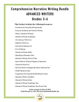 Comprehensive Narrative Writing for Advanced Writers - Grades 3-6