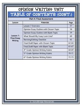 Comprehensive Opinion Writing Unit-Grades 4, 5, 6