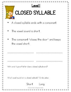 Orton Gillingham spellings, syllables, syllable division rules & printable cards