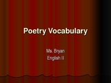 Comprehensive Poetry Vocabulary Powerpoint with Handout (Separate Upload, Free)