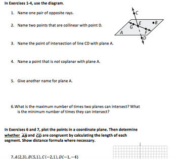 Comprehensive Review of all Basics of Geometry Common Core-w/ Answer Key