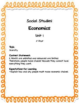 Comprehensive Social Studies Unit: 1st Grade: Economics