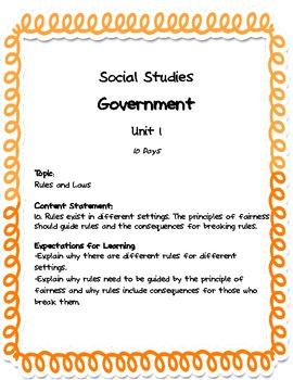 Comprehensive Social Studies Unit: 1st Grade: Government