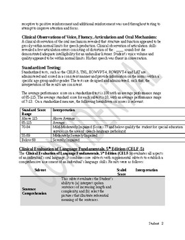 Speech Therapy-Speech and Language Evaluation Report Template  younger student