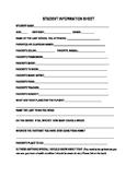 Comprehensive Student Information Sheet