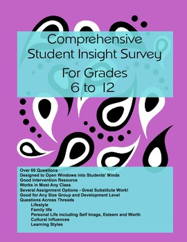 Student Survey with Comprehensive Insights for Middle and High School Students
