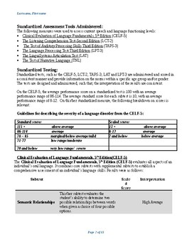 Speech Therapy-speech and language evaluation report template Older student